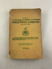 Vtg 1950 Us Military Government in Germany Manual, Post-Occupation Wwii
