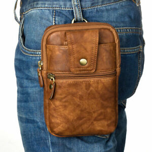 Luxury Leather Wallet Belt Loop Zipper Pocket Cigarette Sleeve Bag Waist Pack