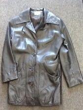 Ladies Red Kid Basic Black Leather Jacket-size X-Small