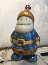 Ceramic Garden Gnome Santa Handmade Beard Hat 4 1/2� Blue Brown