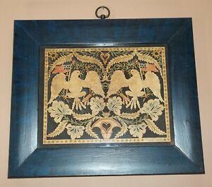 Claudia Hopf 1976 Scherenschnitte Folk Art Americana Eagle Flag Framed Paper Art