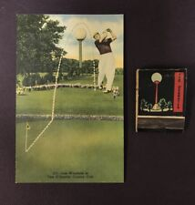 Vintage Golf Lew Worsham Tam O'Shanter Country Club Postcard & Matchbook 1947