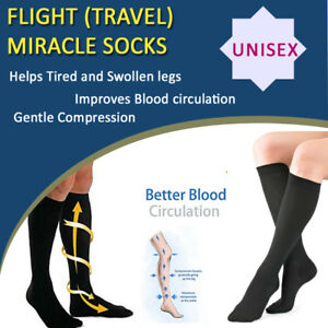 Pair Compression Miracle Flight Sock Anti Swelling Fatigue Varicose Vein Support