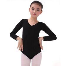 Kids Long Sleeve Leotard Girls Cotton Ballet Dance Gymnastics Leotard Dancewear