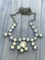 Vintage Princess Sparkly Silver Tone Necklace Clear Glass Art Deco Style 1950s