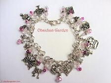 Alice in Wonderland hand made austrian crystal charm bracelet - pink - FREE P&P