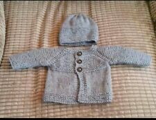 3dce9ae916e Hand knitted baby set in Newborn ( light grey )