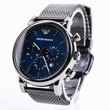 NEU OVP Emporio Armani AR1979 Herren Uhr Chronograph Edelstahl Mesh Grau Blau