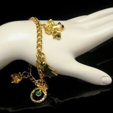 Vintage Christmas Charm Bracelet Rhinestone Tree Bells Bird Heart Statement