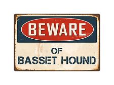 "Beware Of Basset Hound 8"" x 12"" Vintage Aluminum Retro Metal Sign VS038"