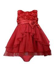 New Girls Bonnie Jean 24m Red Sparkle Satin Bow Dress Christmas Holiday Pageant