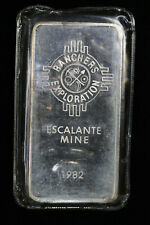 1982 JM Johnson Matthey Ranchers Exploration Escalante Mine 10 oz Silver Bar