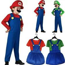 Super Mario and Luigi Cosplay Plumber Suits Boy Girl Costume Fancy Dress Outfit