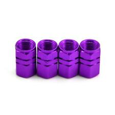 Portable Purple 4pc Wheel Tyre Tire Valve Stems Air Cover Screw Caps Car Bike