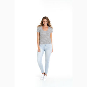 Stacey Rib Tee in White Black Stripe by BETTY BASICS*