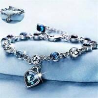 Women 925 Silver Chain Bracelet Heart Rhinestone Crystal Bangle Xmas Jewelry Hot