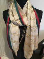 NWT authentic Gucci gold GG print red green web 100% silk scarf made in Italy