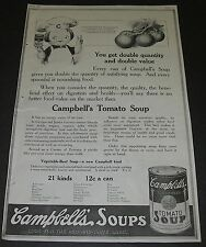 Print Ad 1919 Campbell's Tomato Soup You get double quantity & value Camden NJ.
