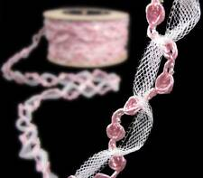 "3 Yds Pink Roses Rosebud White Tulle Wedding Fancy Trim Ribbon 3/4""W"