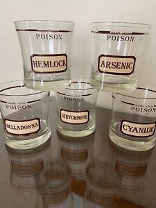 Vintage Name Your Poison Cocktail Glasses Set Of 5