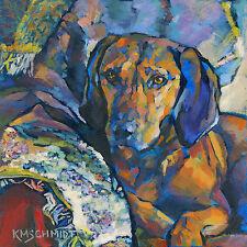 KMSchmidt 12x12 Ltd Ed Print, REDBONE COONHOUND COMFY COTTAGE HOUND DOG ART
