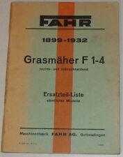 Teilekatalog Fahr Grasmäher F 1-4 rechts- und linksschneidend von 1899-1932