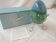 Chinese hand painted Li Bien glass Easter Egg Ornament with original Box