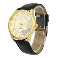 Fashion Women LOVE Leather Band Analog Quartz Round Wrist Watch Gold Watches New