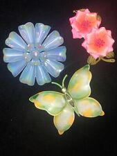 LOT 3 Vintage 50s 60s Enamel Daisy Flower Butterfly Brooch Pin Estate Jewelry