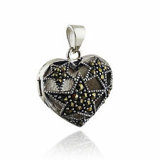 Marcasite Heart Locket with Stars - 925 Sterling Silver - Pendant Love Gift NEW