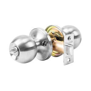 Ball Lockset Privacy Door Knob Keyless Door Lock Bedroom, Bathroom -Satin Nickel