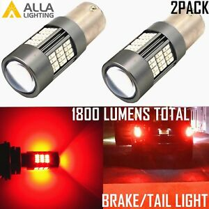 Alla Lighting 2x 1157 BAY15D 54-LED Brake Stop Tail Light Bulb Lamp, Vivid Red