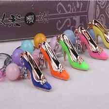 High Heel Shoes Key chains Rhinestone Car Key ring Silver Plated Women Bag Decel
