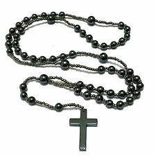 Jesus Kreuz Halskette Rosenkranz Perlenlette Kreuzkette Ypsilonkette Hämatit