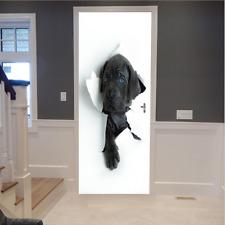 3D Wall Art Funny Black Dog Door Sticker PVC Decal Self-adhesive Wrap Mural New