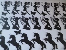 31 FAIRY UNICORN & BUTTERFLYS SILHOUETTE BLACK DIE CUT, JARS, BOTTLES CRAFTS