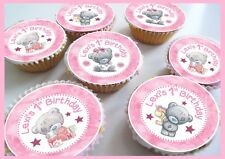 Tatty Teddy Birthday/Thank you Pink Edible Personalised Cupcake toppers