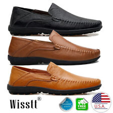Men's Wisstt New Leather Driving Casual Shoes Moccasins Slip On Loafers Hiking