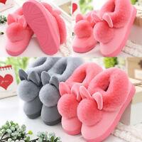 Women Winter Plush Bunny Rabbit Warm Indoor Slippers Slip On Soft Home Shoes