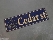 """Vintage CEDAR ST Cathedral District Street Sign 30"""" X 9"""" - GOLD on NAVY Ground"""