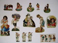 Mixed Lot of Vintage Die-Cuts For Scrap Booking w/ Clowns, People & Animals *