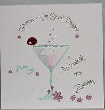 Lovely Personalised Handmade 40th Birthday glass design Card.Daughter,Sister,Mum