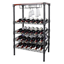 24 Bottles Holder Wine Rack Stackable Storage 4 Tier Solid Display Shelves
