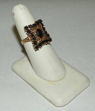 14kt Solid Yellow Gold Sapphire Filigree Elongated Ring Size 8.5 5.3 g LOT113