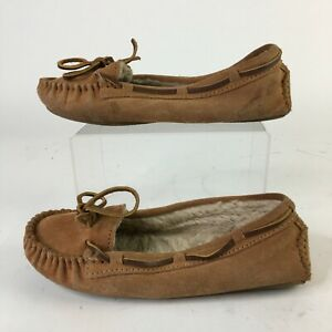 Minnetonka Cally Slippers Womens 7 Casual Moccasin  Faux Fur Leather Brown 4011
