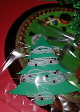Westrim Beaded Mini Christmas Tree *Garland* Extra long, White with red pearl