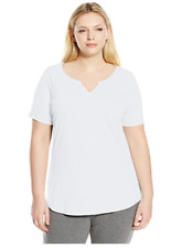 NWT Just  My Size 2X Cotton Blend S/S Split Neck Tee Top White