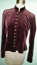 "Ralph Lauren Velvet Velour ""Button Down"" Long Sleeve Top Blouse Sz 4P Plum Color"