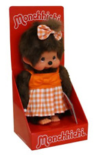 original Monchhichi 7 7/8in Checker Girl Orange Summer dress Sundress & Bow