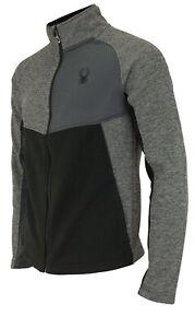 Spyder Mens Polar Tech Heath Color Block Full Zip Fleece Jacket Small $129